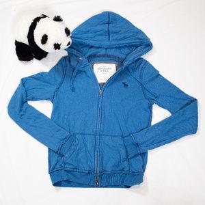 Blue raw edge hem Abercrombie zip up hoodie